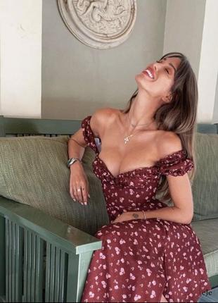 Платье цветочное бордо бордовое сарафан бордовый миди с разрезом на молнии
