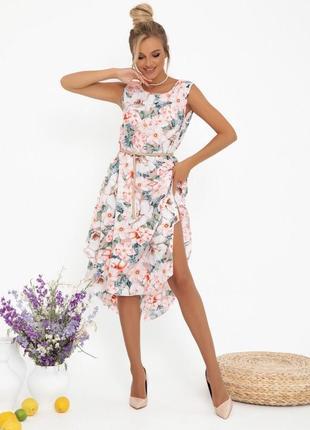 Розовое асимметричное платье-трапеция (большие размеры есть)13014