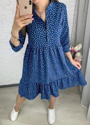 Платье свободного кроя, с карманами, рукав 3/4 (застёгивается на пуговицу)