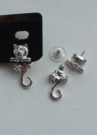Очаровательные серьги сережки коты котята 2 в 1, италия покрытие серебром