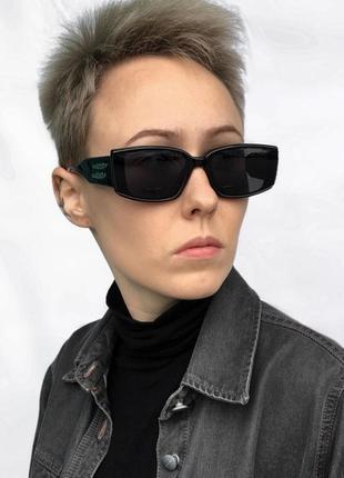 Новые солнцезащитные очки черные узкие геометрия ретро окуляри сонцезахисні чорні тренд