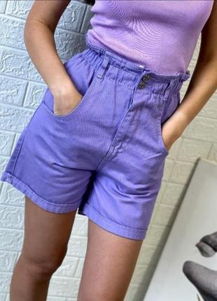 Лавандовые /сиреневые джинсовые шорты с высокой посадкой на резинке