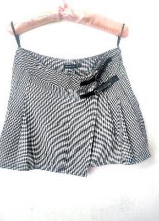Стильная теплая юбка в гусиную лапку