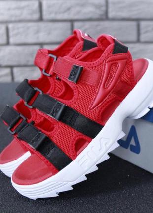 Fila red black disruptor sandals красные женские босоножки сандалии фила червоні жіночі босоніжки сандалі філа