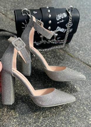 Туфли серые женские блестящие серебро текстиль