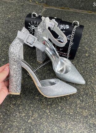 Туфли женские серые блестящие серебро