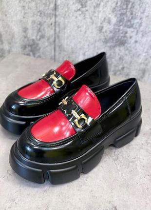 Туфли чёрные красные женские на платформе кожаные кожа экокожа