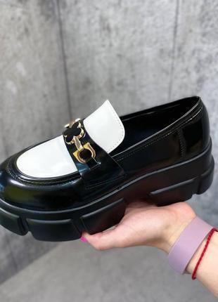 Туфли чёрные женские белые на платформе кожаные кожа экокожа2 фото