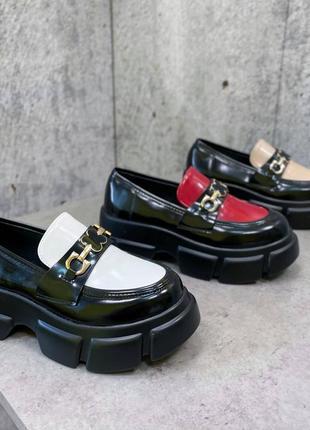 Туфли чёрные женские белые на платформе кожаные кожа экокожа3 фото