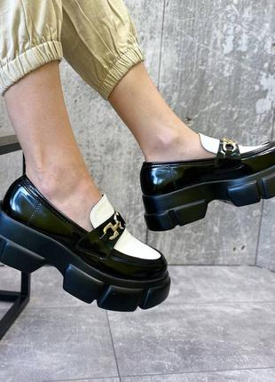 Туфли чёрные женские белые на платформе кожаные кожа экокожа7 фото