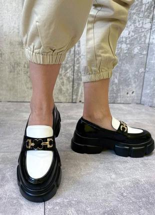 Туфли чёрные женские белые на платформе кожаные кожа экокожа8 фото