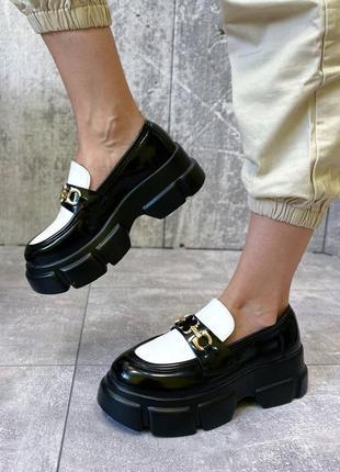 Туфли чёрные женские белые на платформе кожаные кожа экокожа6 фото