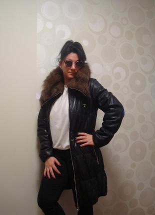 Кожаное зимнее стеганое пальто