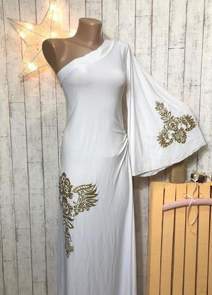 Белое длинное в пол платье на вечеринку косплей на одно плечо в греческом стиле р. s - м