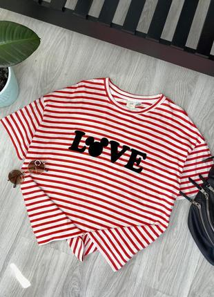 Распродажа!! футболка тельняшка тренд 2021, с бархатной надписью, состояние новое, размер l, от h&m
