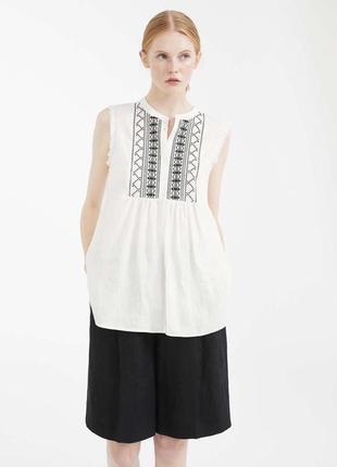 Блузка  натуральная с вышивкой  max mara /вышиванка , p. l/12-14