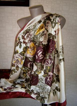 Большой, шикарный, винтажный платок из натурального шелка. chunhua