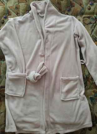 Женский теплый нежно розовый халат