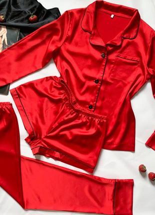 Пижама тройка шелк армани рубашка шорты штаны на пуговицах красная піжама