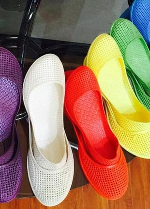 Силиконовые балетки in-ox, мыльницы коралки обувь для пляжа, прогулок