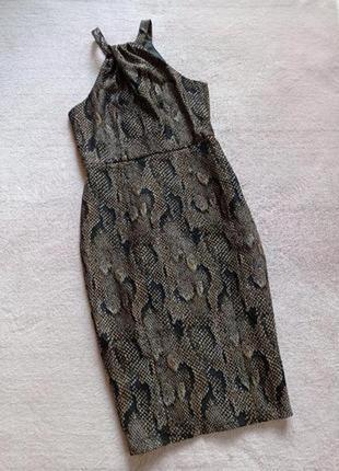 Платье-халтер змеиный принт