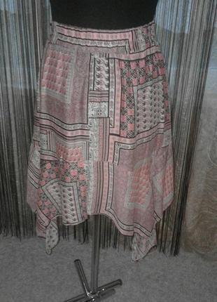 Натуральная стройнящая моделирующая юбка, пэчворк, клинья, ассиметрия