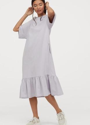 Новое платье футболка миди h&m, оверсайз, хлопок. размер s-m