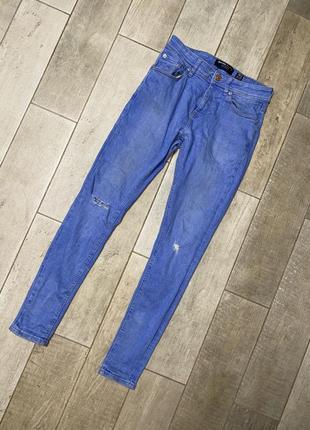 Голубые скинни джинсы,узкие джинсы,разрезы(2)