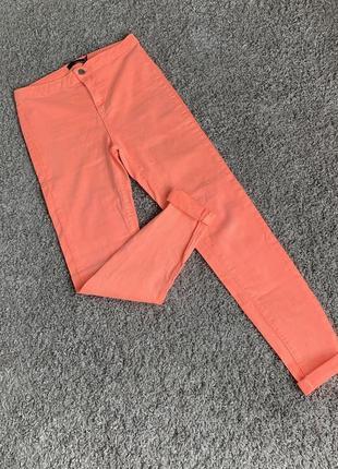 Классные яркие штаны скинни с высокой талией