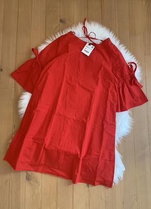 Червоне котонове плаття на підкладці  zara