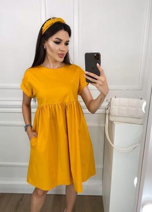 Платье летнее легкое свободное оверсайз короткое мини повседневное желтое