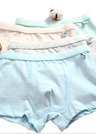 Набор 3 шт трусы-шорты подростковые 10-12 лет в нейтральных тонах котон