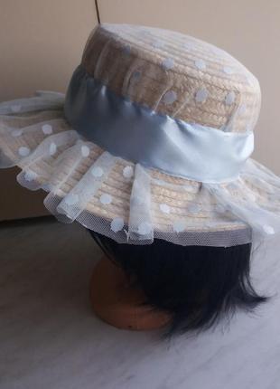 Шляпа соломенная с декором, р.56-58