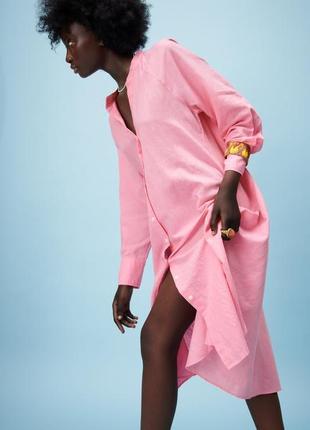 Льняное платье рубашка zara миди2 фото