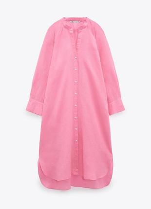 Льняное платье рубашка zara миди6 фото