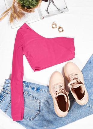Розовый топ на одно плечо, яркий топ женский, стильный спортивный топ