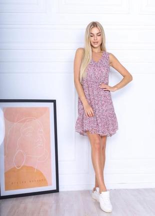 Платье летнее легкое свободное оверсайз короткое мини цветочное