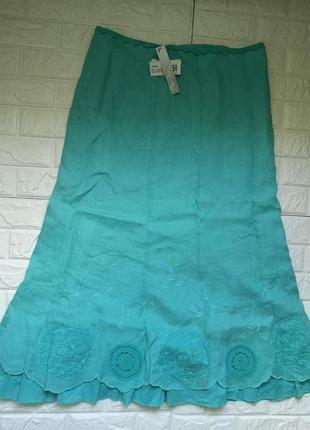 Шикарная льняная юбка  миди с вышивкой