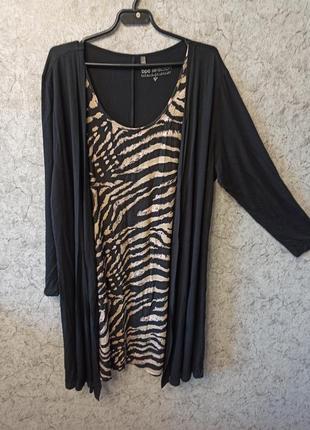 Платье, туника двойка, обманка 58-60 размер