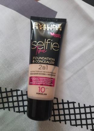 Тональна основа + консилер для обличчя 2в1 eveline cosmetics selfie time foundation & concealer