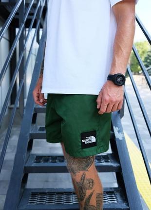 Стильные мужские летние спортивные шорты the north face хаки зелёные с карманами сбоку