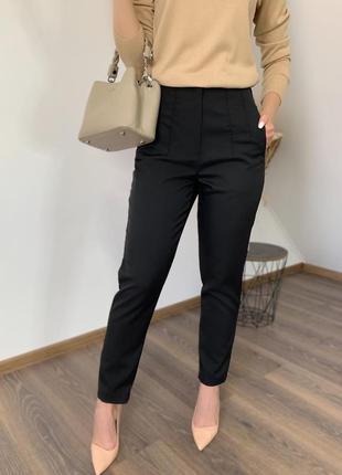 Брюки женские классические штаны с высокой посадкой черные бежевые