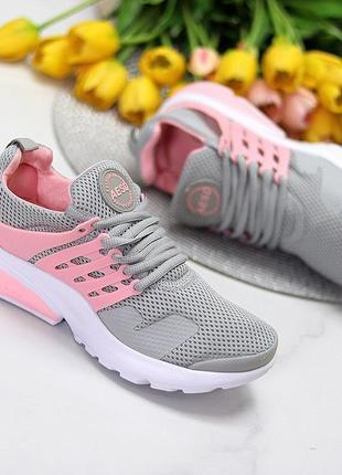 Кроссовки женские серо-розовые, кросівки жіночі сіро-рожеві. легкие текстильные серые женские кроссовки