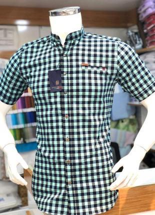 Рубашка в клетку с коротким рукавом хлопок воротник стойка сорочка