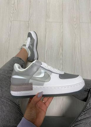 Nike air force shadow grey white кроссовки найк женские аир форс кеды обувь взуття