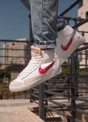 Blazer mid red 77 nike высокие мужские кроссовки