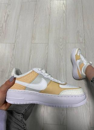 Nike air force shadow white grey brown кроссовки найк женские аир форс кеды обувь