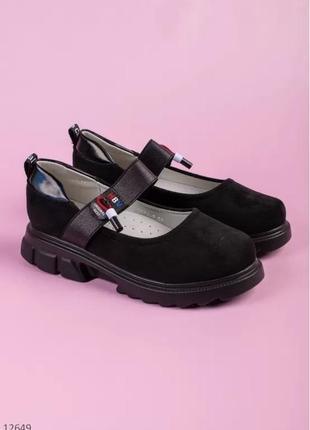 Замшевые чёрные туфли для девочки супинатор школа