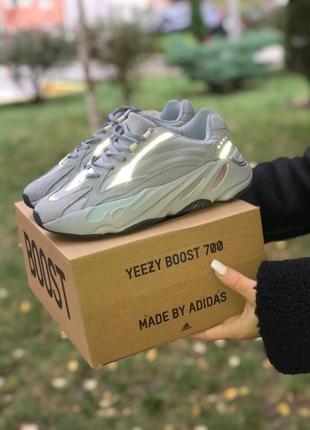 Yeezy boost 700 v2 blue reflective adidas кроссовки адидас женские изи буст изики
