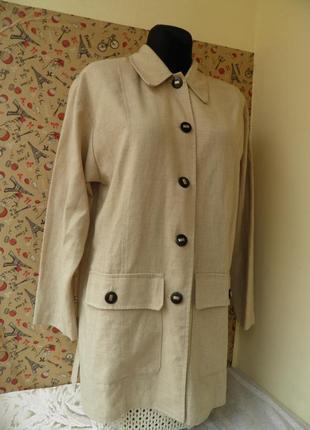 Пиджиак кежуал лен френч удлиненный пиджак с накладными карманами